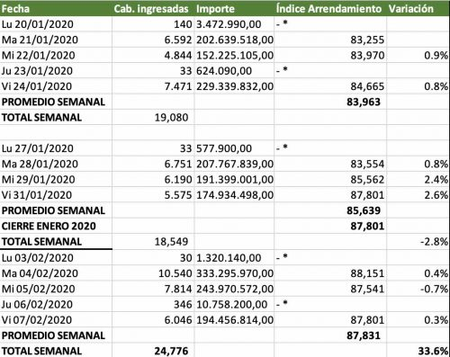indice novillo arrendamiento mercado de liniers febrero 2020