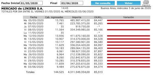 precio del novillo mercado de liniers junio 2020